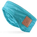 Mydeal Unisex Bluetooth Headband Sweatband with Wireless Headphones Headsets Speakers Mic Hands-Free for Gym Exercise Running Skiing Snowboard Camping Skating, Teal
