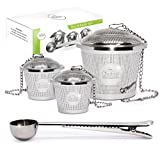 Tea Infuser Set by Chefast (2+1 Pack) - Combo Kit of 1 Large and 2 Single Cup Infusers, Plus Metal Scoop with Clip - Reusable Stainless Steel Strainers and Steepers for Loose Leaf Teas
