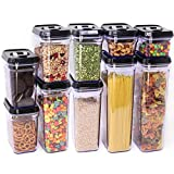 [10-Piece] Zeppoli Air-Tight Food Storage Container Set - Durable Plastic - BPA Free - Clear Plastic with Black Lids (2.0 qt/2.3 liters) (1.5 qt./1.7 liters) (0.9qt/1.0 liter) (0.35qt/ 0.38 liter)