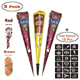Temporary Tattoo Stencil Kits,Painting Tattoo Paste Cone,3 Tube Brown Red Paste Cone Indian Body Art Paint Drawing with 48 x Adhesive Stencil