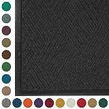 WaterHog Diamond | Commercial-Grade Entrance Mat with Rubber Border - Indoor/Outdoor, Quick Drying, Stain Resistant Door Mat (Charcoal, 4' x 6')