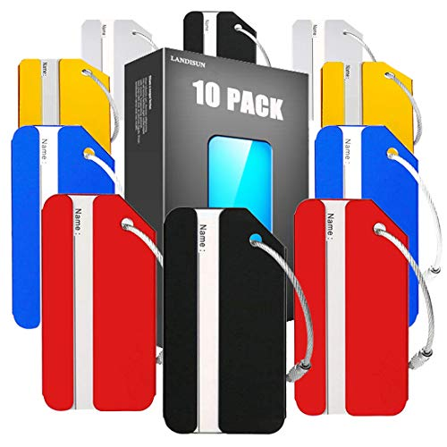 Landisun Luggage tags Baggage Tags for Bag Tags Travel Tags ID Card of 10...