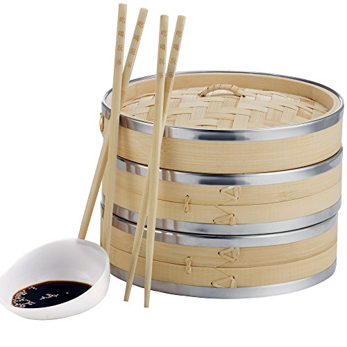 VonShef 10-Inch 2 Tier Bamboo Steamer with Stainless Steel Banding, 2 Pairs of Chopsticks and 50 Wax Steamer Liners
