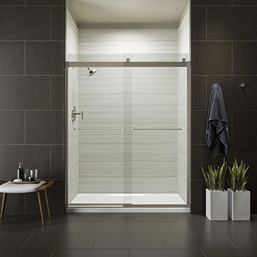 KOHLER K-706015-L-MX Levity Bypass Shower Door with Towel Bar and 1/4-Inch Crystal Clear Glass in Matte Nickel