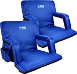 Brawntide Portable Stadium Seat Chair - Extra Thick Padding, Adjustable Bleacher Strap, Shoulder Straps, 4 Pockets, Water Resistant, Ideal for Sporting Events, Beaches, Parks, Camping (Blue, 2 Pack)