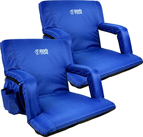 Brawntide Wide Stadium Seat Chair - Extra Thick Padding, Adjustable Bleacher Strap, Shoulder Straps, 4 Pockets, Water Resistant, Ideal for Sporting Events, Beaches, Parks, Camping (Blue, 2 Pack)