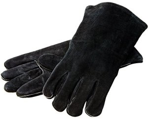 "Lodge 14.5"" Leather Outdoor Cooking Gloves – Heat Resistant Gloves for Cast Iron Cooking"