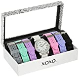 XOXO Women's Analog Watch with Silver-Tone Case, Crystal-Inset Bezel, 7 Interchangeable Bands Included - Official XOXO Woman's Silver-Tone Watch, Silicone Buckle Straps - Model: XO9069