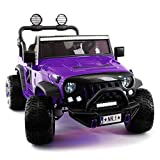 Moderno Kids Explorer 2 (Two) Seater 12V Power Children Ride-On Car Truck with R/C Parental Remote + EVA Rubber LED Wheels + Leather Seat + MP3 Music Player Bluetooth FM Radio + LED Lights (Purple)