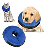 VST Comfy Cone for Dogs Cats,Protective Inflatable Soft Dog Cone Collar,Pet Recovery E-Collar Cones Alternative After Surgery Prevent Pets from Touching Biting Scratching at Injuries Wounds (S)