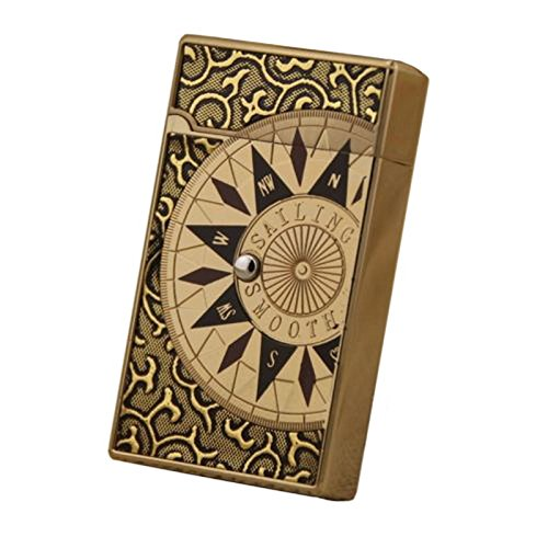 Compass Designed Premium Lighter Push Button Electronic Touch Sensor Butane Gas Refillable Windproof Cigar Cigarette Lighter - Light Gold