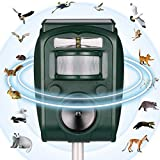 PestOXO Ultrasonic Pest Repeller Solar Powered Waterproof Outdoor Animal Repeller with Ultrasonic Sound | Motion Sensor and Flashing Light for Cats,Squirrels,Moles,Dogs,Rats, Ect.