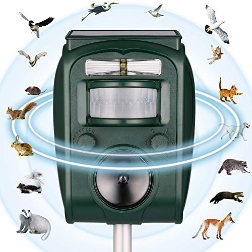 PestOXO Ultrasonic Pest Repeller Solar Powered Waterproof Outdoor Animal Repeller with Ultrasonic Sound   Motion Sensor and Flashing Light for Cats,Squirrels,Moles,Dogs,Rats, Ect.