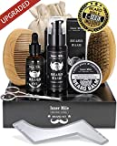 UPGRADED Beard Kit for Men Dad Beard Growth Grooming & Trimming - Unscented Leave-in Conditioner Oil, Shampoo Wash, Mustache Balm Wax, Brush, Comb, Scissors & Shaping Template Tool, Best Perfect Gift