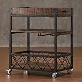 Product review for TRIBECCA HOME Myra Rustic Mobile Kitchen Bar Serving Wine Cart Bistre Brown