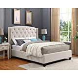 Roundhill Furniture B002K Nantarre Fabric Tufted Wingback Upholstered Bed with Nailhead Trim, King, Tan
