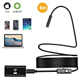 BONAOK WiFi Wireless Endoscope, 6 LED Lights 2.0 Megapixels HD Resolutions Waterproof Inspection Snake Camera for Android,iPhone,Smartphone(16.40ft)