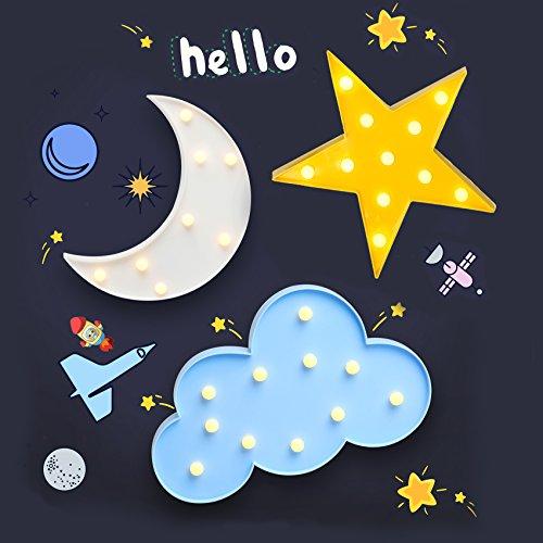 LED Night Lights Media Luna Estrella, Luna, Nube Marquee señal lámpara de mesa estrellado Vision...
