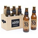 30th Milestone Birthday - Dashingly Aged to Perfection - Birthday Party Decorations for Men - 6 Beer Bottle Label Stickers and 1 Carrier