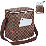 Lunch Bags For Women and Man,Insulated Lunch Box Cooler Bag with Adjustable Shoulder Strap, Water-resistant Thermal PU Soft leather Lunch Shoulder Bag for Work/Picnic/Beach/Hiking(Checked Pattern)