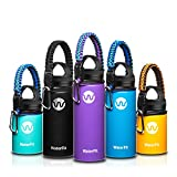WaterFit Vacuum Insulated Water Bottle - Double Wall Stainless Steel Leak Proof BPA Free Sports Wide Mouth Water Bottle - Travel Straw Lid or Narrow Lid Mug –12 to 32oz -5 Colors with Paracord Handle