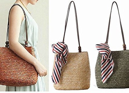 Women's Large Capacity Straw Shoulder Bag with Scarves Beach Bag