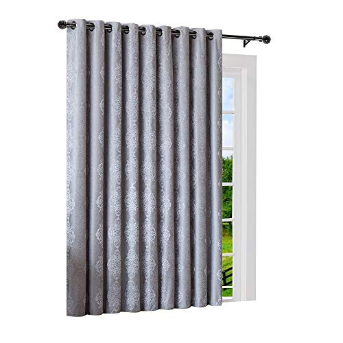 Warm Home Designs Extra Wide, Extra Long 110' x 96' Grey Silver 100% Blackout Insulated Thermal Patio Door Panel, Room Breaker, French Door Sliding Door Curtains. JE Silver 110 x 96