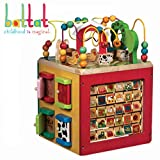 Battat - Wooden Activity Cube - Discover Farm Animals Activity Center for Kids 1 year +