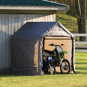 ShelterLogic 6′ x 6′ Shed-in-a-Box All Season Steel Metal Peak Roof Outdoor Storage Shed with Waterproof Cover and Heavy…
