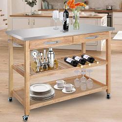 Nova Microdermabrasion Rolling Kitchen Island Cart Storage Utility Trolley Cart W/Storage Drawers Stainless Steel Countertop