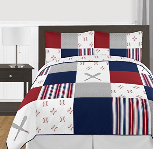 Sweet Jojo Designs Red, White and Blue Baseball Patch Sports Boy Full/Queen Kid Teen Bedding Comforter Set - 3 Pieces - Grey Patchwork Stripe