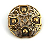 Bronze Gold Viking Shield Brooches,Clothes Fasteners - Cloak, Shawl, Scarf Pin, Celtic Irish Norse Vintage Jewelry (Brooch.)