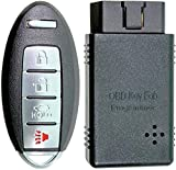 APDTY 00260 Replacement Keyless Entry Remote Key Fob Transmitter w/Auto Programming Tool Fits Select Nissan or Infiniti Models (View Compatibility Chart To Verify Your Specific Model)