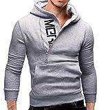 Men's Winter Clothes, New Men's Casual Hooded Sweatshirt Tops Jacket (Gray, M)