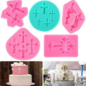 5 Pieces Cross Cake Fondant Mold Cross Mold Baptism Cake Decorations Baptism Cake Toppers for Baptism Party Supplies, DIY Cake Making 5105yWSR5GL