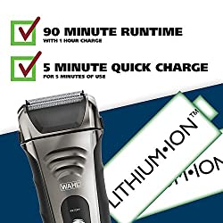 Wahl Smart Shave Rechargeable lithium ion wet / dry water proof foil shaver for men. Smartshave technology for shaving, trimming, and wet or dry shave with precision ground trimmer blade #7061-900  Image 4