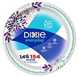 Dixie Everyday Paper Plates, 8 12', 154 Count, Lunch or Light Dinner Size Printed Disposable Plates