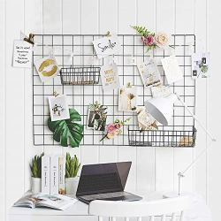 GBYAN 2 Pack Wall Grid Panels Photo Display Multifunctional Wire Wall Organizer Iron Rack with Decoration Light for Hanging Pictures, Small Plants, 25.6″x17.7 Each Grid Panel
