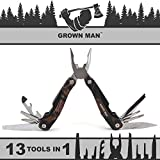 Grown Man Survivor Multi Tool - Camouflage - Includes Pliers, Knife, Saw, and more - Best Multitool for Hunting & Camping - Survival Gear - Tactical Gear