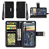 Apple iPhone Xs Case, Apple iPhone X Case - IZENGATE [Classic Series] Wallet Cover PU Leather Flip Folio with Stand (Black)