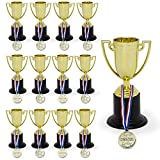 Amazing Set of Trophies and Awards | Bulk Pack of 12 | Shiny Golden Winner Awards and Trophies for Kids & Adults | Ideal As Party Favors, Reward Prizes | Sports Events |Stocking Stuffers