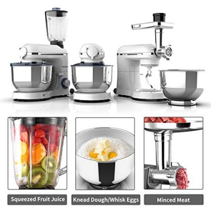 Nurxiovo-Pro-3-in-1-Stand-Mixer-850W-Kitchen-Food-Mixer-with-6-Speed-and-Pulse-Home-mixer-stand-up-with-7QT-Stainless-Steel-BowlDough-Hook-Whisk-Beater-Meat-Blender-and-Juice-Extracter-White