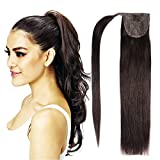 20'Human Hair Ponytail Extensions Wrap Around Ponytails Clip in Ponytail 100g-2# Dark Brown with Accessory Hair Ties and Pins