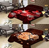 Ramano Collections Korean Style Mink Blanket 14 Lbs Heavy Queen Size Reversible Raschel Quality Thick Warm Plush Soft Embossed 2 Ply Burgundy Flower & Brown Chocolate Flower 2 Designs in 1