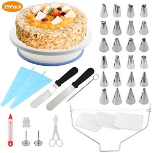 39 pcs Cake Decorating Supplies, WisFox Professional Cupcake Decorating Kit Baking Supplies Rotating Turntable Stand, Frosting, Piping Bags and Tips Set, Icing Spatula and Smoother, Pastry Tool 510GWTu1TpL