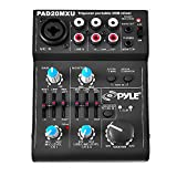 Pyle 5 Channel Audio Mixer - DJ Sound Controller Interface with USB Soundcard for PC Recording, XLR 3.5mm Microphone Jack, 18V Power, RCA Input and Output for Professional and Beginners - PAD20MXU