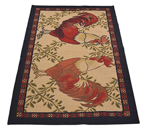 Kitchen Collection Rooster Beige Multi-Color Printed Slip Resistant Rubber Back Latex