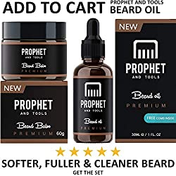 PREMIUM Beard Balm Butter and Wax Formula For Men Grooming! Adds Mild Styling & Hold, Softens Beards & Mustache, Gives Shine and Promotes Fuller Thicker Beard Oil Hair Growth! Prophet and Tools  Image 5