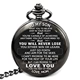 Memory gift - A special gift from mother to son, engraved pocket watch with inspirational message to son. Gift from mother to son for Birthday, Christmas, Wedding day, College graduation.