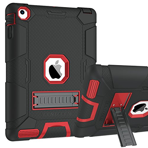 iPad 2 Case, iPad 3 Case, iPad 4 Case, BENTOBEN Heavy Duty Shockproof Kickstand Anti-slip 3 in 1 Full-body Rugged Soft Rubber Hard PC Protective Case for 9.7 iPad 2nd / 3rd / 4th Generation, Black/Red